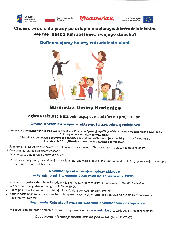 plakat rekrutacja uzupełniająca NIANIA